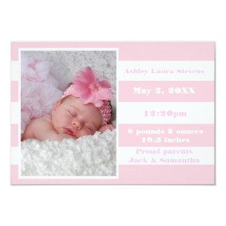 Raya rosada y blanca - invitación del nacimiento