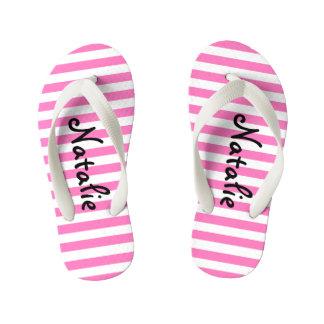 Raya rosada y blanca linda personalizada chanclas para niños