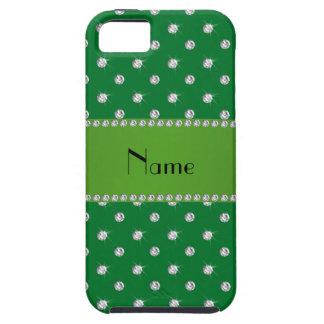 Raya verde personalizada de los diamantes verdes iPhone 5 carcasas