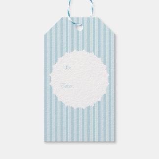 Rayado azul de la cabaña inglesa con el tapetito etiquetas para regalos