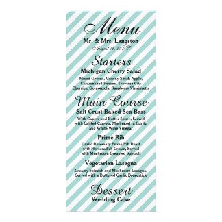 Rayado blanco azul claro - menú de la recepción tarjetas publicitarias personalizadas