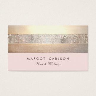 Rayado rosa claro del oro elegante y elegante de tarjeta de negocios