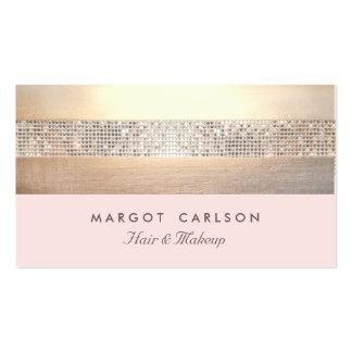 Rayado rosa claro del oro elegante y elegante de tarjetas de visita