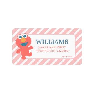 Rayado rosado de Elmo del bebé del Sesame Street Etiqueta De Dirección