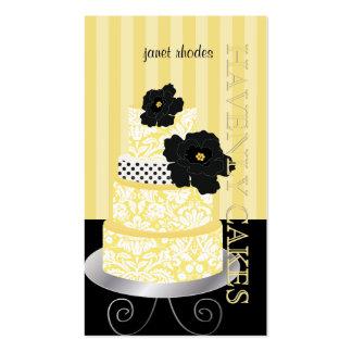 Rayas amarillas de PixDezines+torta/pâtisserie del Tarjeta De Visita