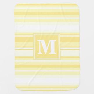 Rayas amarillas limón del monograma mantas de bebé