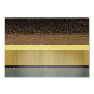 Rayas amarillas y marrones abstractas invitación 12,7 x 17,8 cm