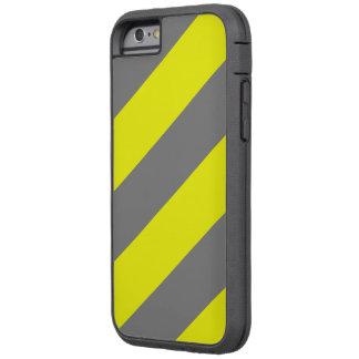 Rayas amonestadoras de la atención amarilla gris funda de iPhone 6 tough xtreme