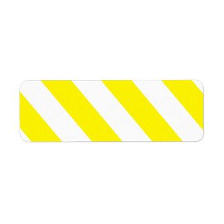 Rayas amonestadoras de la atención blanca amarilla etiqueta de remitente