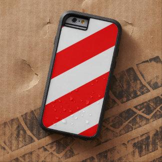 Rayas amonestadoras de la atención roja blanca funda para  iPhone 6 tough xtreme