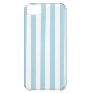 Rayas amplias - blancas y azules claras funda para iPhone 5C