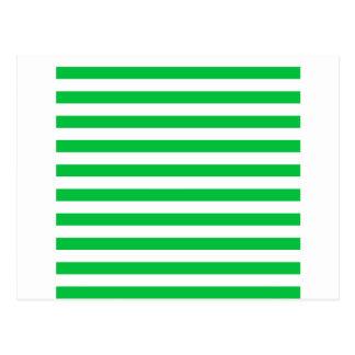Rayas amplias - blancas y verde en colores pastel postal