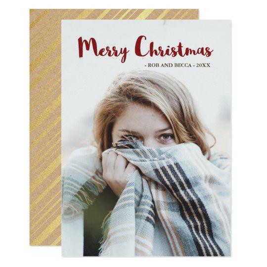 Rayas atractivas rústicas y navidad de la foto invitación 12,7 x 17,8 cm