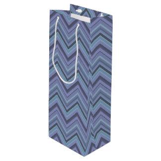 rayas Azul-grises del zigzag Bolsa Para Vino