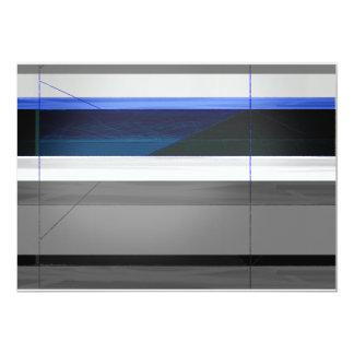 Rayas azules abstractas invitación 12,7 x 17,8 cm