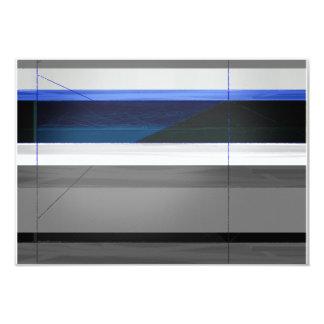 Rayas azules abstractas invitación 8,9 x 12,7 cm