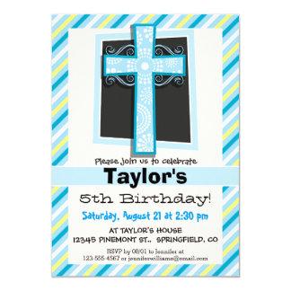 Rayas azules de la cruz, azules y amarillas invitación 12,7 x 17,8 cm