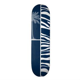 Rayas azules de medianoche oscuras de la cebra Pa Tabla De Skate