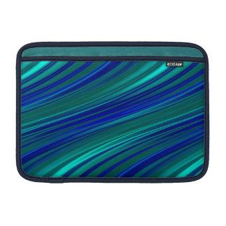 Rayas azules de pavo real funda para MacBook