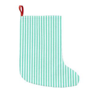 Rayas azules del marinero de la aguamarina de calcetín de navidad pequeño