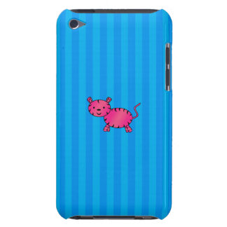 Rayas azules del tigre rosado lindo barely there iPod coberturas