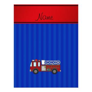 Rayas azules personalizadas del firetruck conocido folleto 21,6 x 28 cm