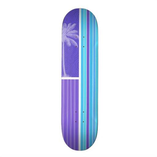 Rayas azules y púrpuras tropicales; Rayado Monopatín Personalizado