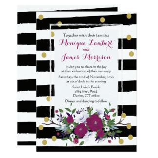 Rayas blancas del negro floral púrpura del boda, invitación 12,7 x 17,8 cm
