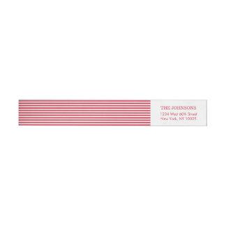 Rayas blancas rojas del color de encargo etiquetas envolventes de remitente