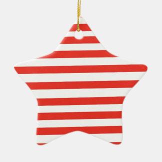 Rayas blancas rojas del marinero adorno de cerámica en forma de estrella
