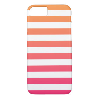 Rayas blancas rosadas anaranjadas de muy buen funda iPhone 7