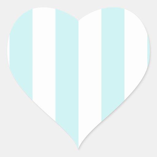Rayas - blancas y azul claro pegatinas de corazon personalizadas