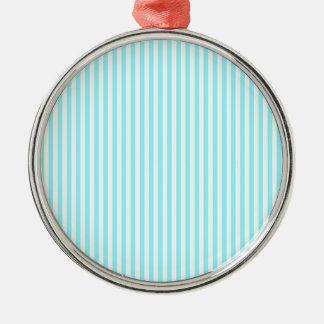 Rayas - blancas y azul eléctrico adorno redondo plateado