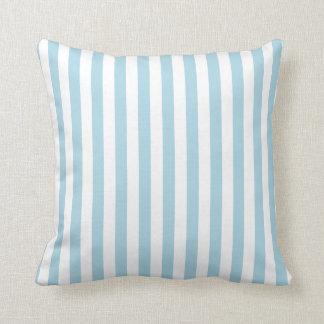 Rayas blancas y azules claras cojín decorativo