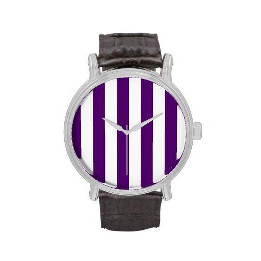 Rayas - blancas y violeta oscura relojes
