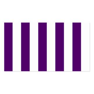 Rayas - blancas y violeta oscura tarjetas de visita