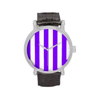 Rayas - blanco y violeta relojes de mano