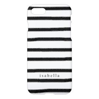 Rayas blancos y negros de la acuarela funda para iPhone 7