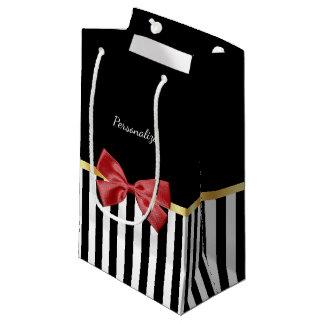 Rayas blancos y negros del arco rojo con clase con bolsa de regalo pequeña