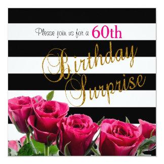 Rayas blancos y negros elegantes y rosas rosados invitación 13,3 cm x 13,3cm