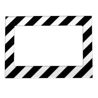 Rayas blancos y negros - marco magnético de la marcos magnéticos para fotos
