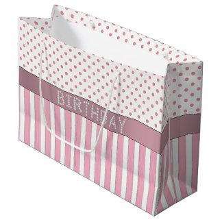 Rayas/bolso rosados del regalo de cumpleaños del bolsa de regalo grande
