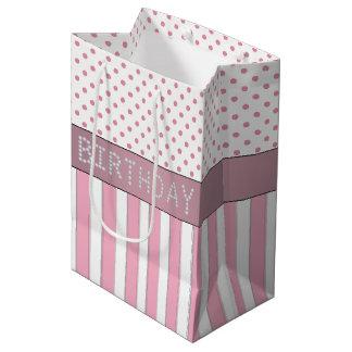 Rayas/bolso rosados del regalo de cumpleaños del bolsa de regalo mediana