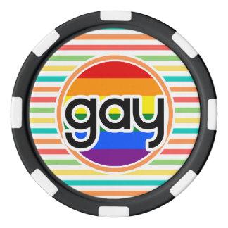 Rayas brillantes del arco iris, gay fichas de póquer