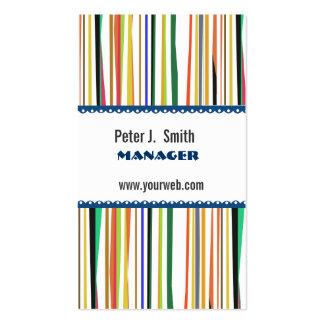 Rayas coloridas del administrador de oficinas del tarjetas de visita