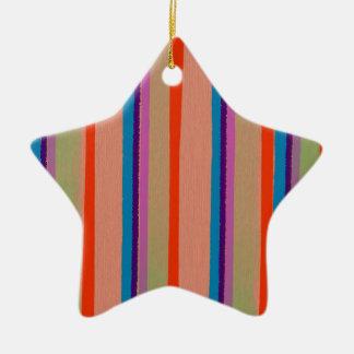 Rayas coloridas del payaso de circo adorno navideño de cerámica en forma de estrella