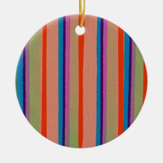 Rayas coloridas del payaso de circo adorno navideño redondo de cerámica
