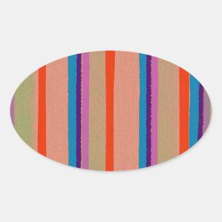 Rayas coloridas del payaso de circo pegatina ovalada