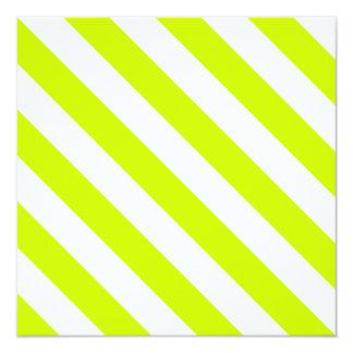 Rayas de Diag - blancas y amarillo fluorescente Invitación 13,3 Cm X 13,3cm