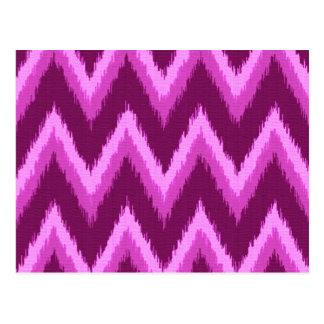 Rayas de Ikat Chevron - púrpura y violeta Amethyst Postal
